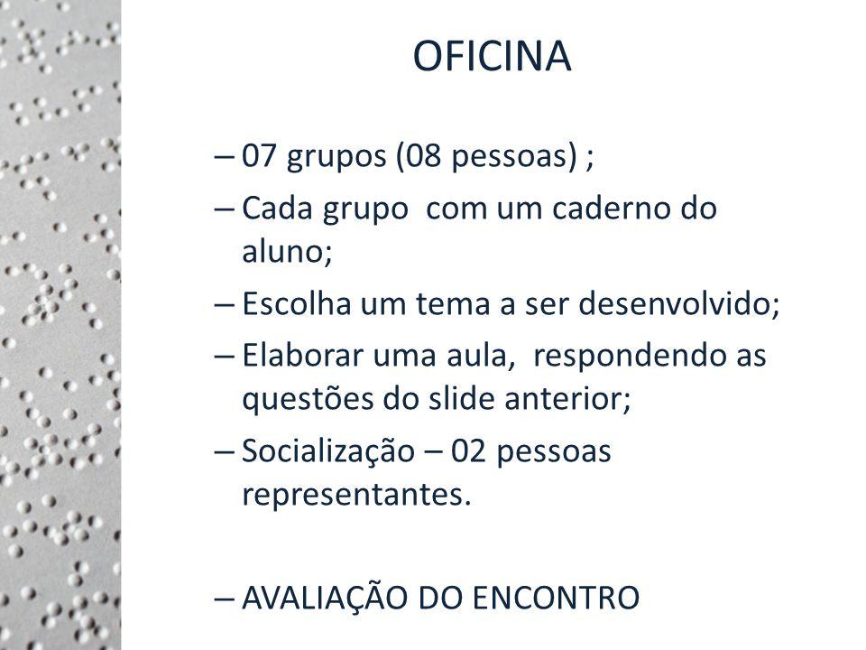 OFICINA 07 grupos (08 pessoas) ; Cada grupo com um caderno do aluno;