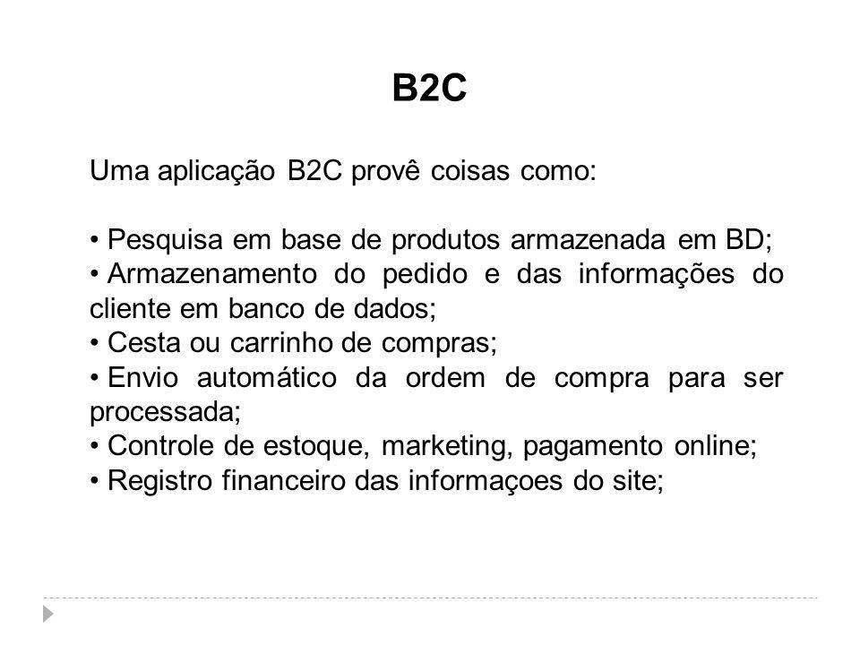 B2C Uma aplicação B2C provê coisas como: