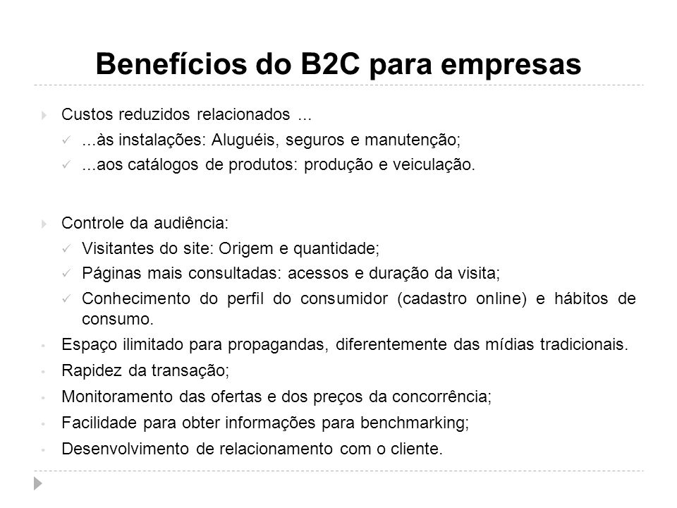 Benefícios do B2C para empresas