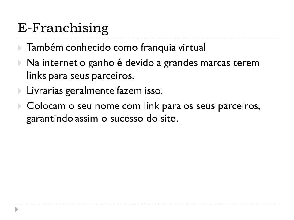 E-Franchising Também conhecido como franquia virtual