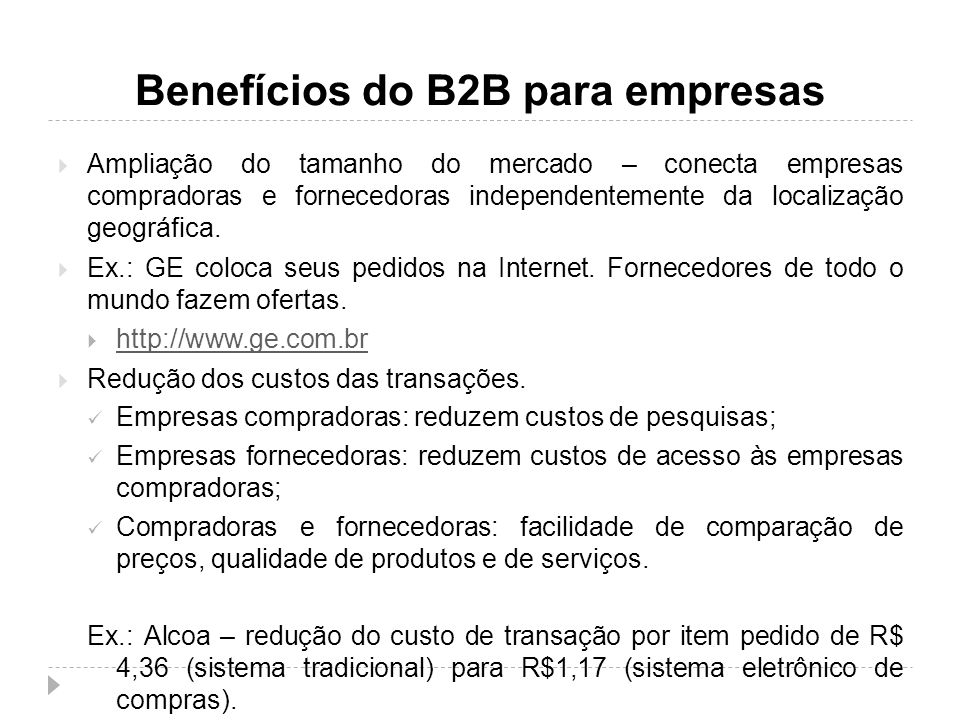 Benefícios do B2B para empresas
