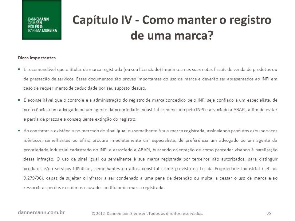 Capítulo IV - Como manter o registro de uma marca