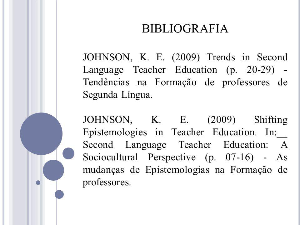 BIBLIOGRAFIA JOHNSON, K. E. (2009) Trends in Second Language Teacher Education (p. 20-29) - Tendências na Formação de professores de Segunda Língua.