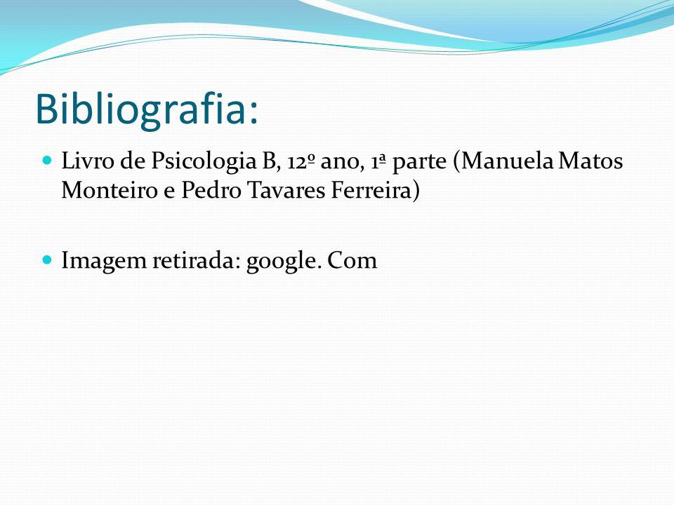 Bibliografia: Livro de Psicologia B, 12º ano, 1ª parte (Manuela Matos Monteiro e Pedro Tavares Ferreira)
