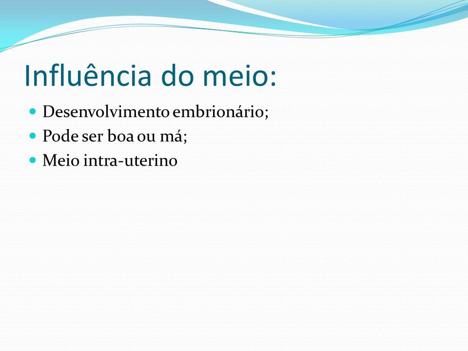 Influência do meio: Desenvolvimento embrionário; Pode ser boa ou má;