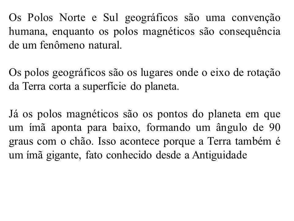 Os Polos Norte e Sul geográficos são uma convenção humana, enquanto os polos magnéticos são consequência de um fenômeno natural.