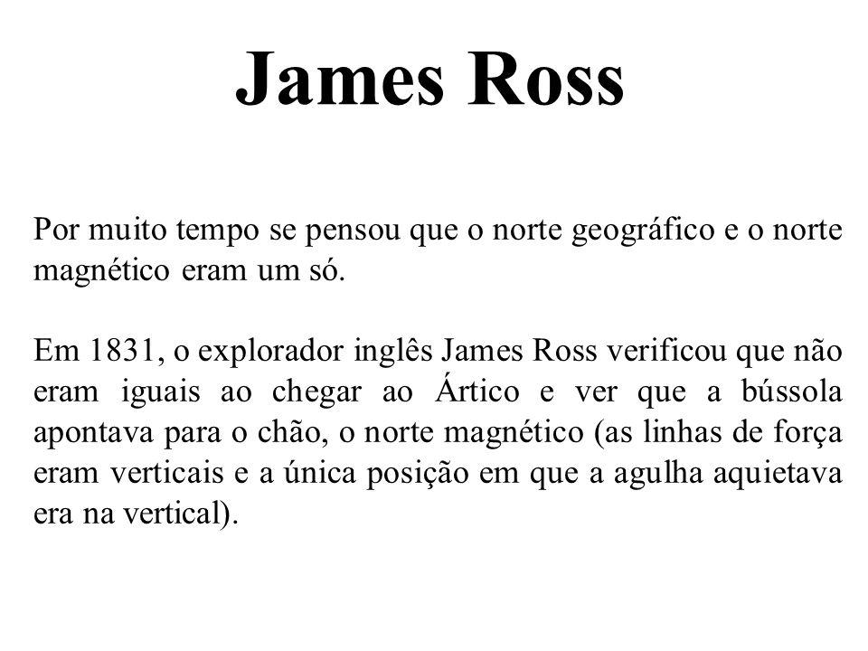 James Ross Por muito tempo se pensou que o norte geográfico e o norte magnético eram um só.