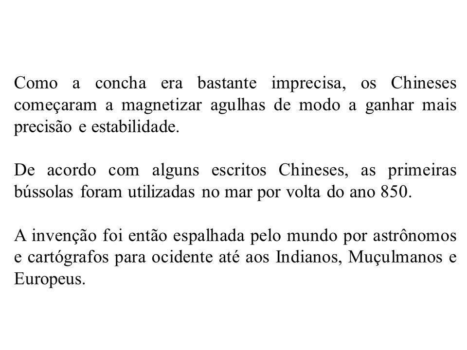 Como a concha era bastante imprecisa, os Chineses começaram a magnetizar agulhas de modo a ganhar mais precisão e estabilidade.