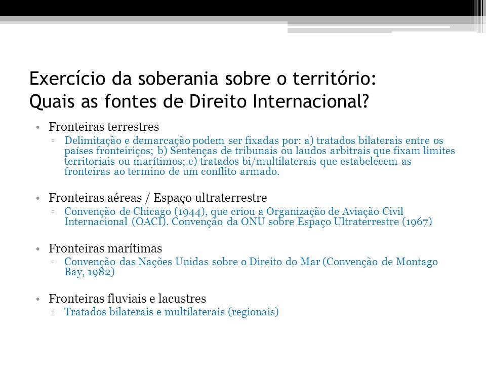 Exercício da soberania sobre o território: Quais as fontes de Direito Internacional