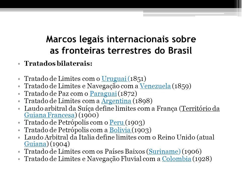 Marcos legais internacionais sobre as fronteiras terrestres do Brasil