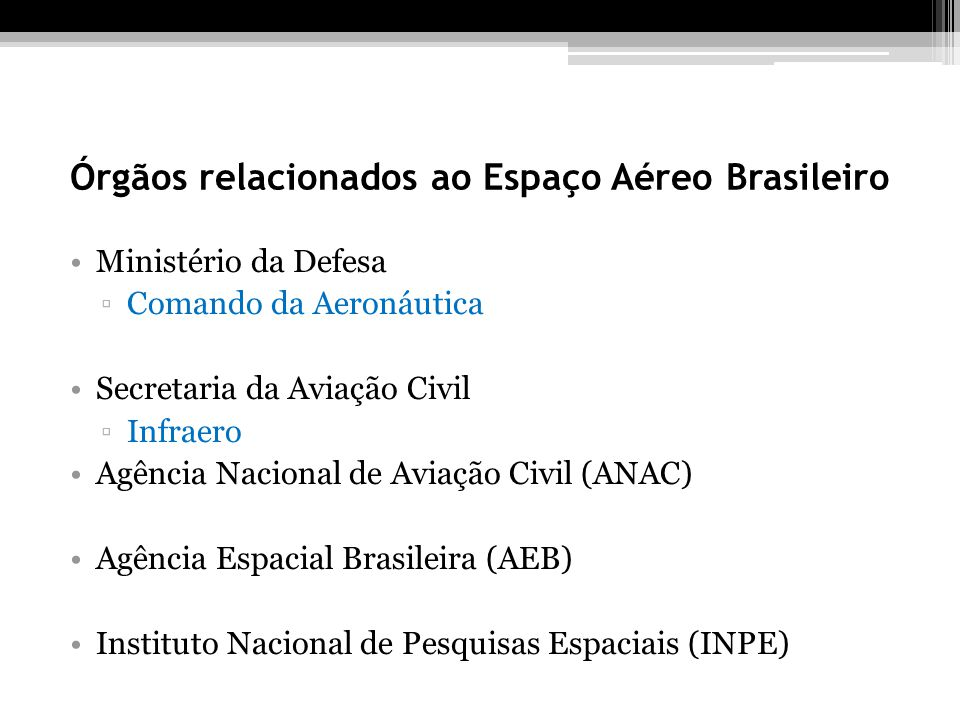 Órgãos relacionados ao Espaço Aéreo Brasileiro
