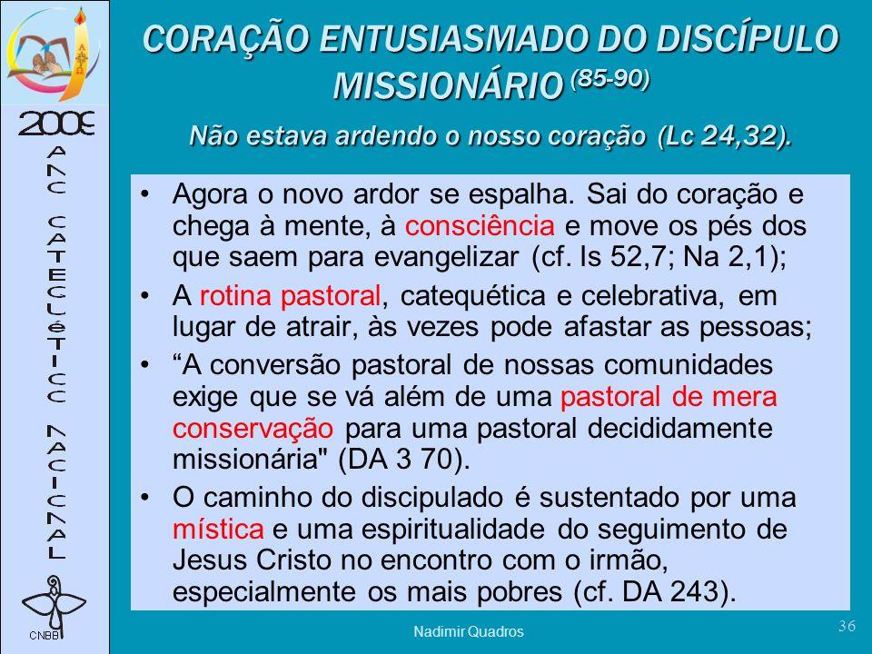 CORAÇÃO ENTUSIASMADO DO DISCÍPULO MISSIONÁRIO (85-90) Não estava ardendo o nosso coração (Lc 24,32).