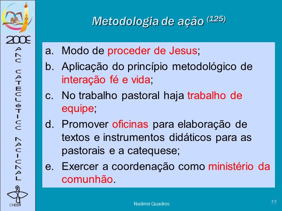 Metodologia de ação (125) Modo de proceder de Jesus;
