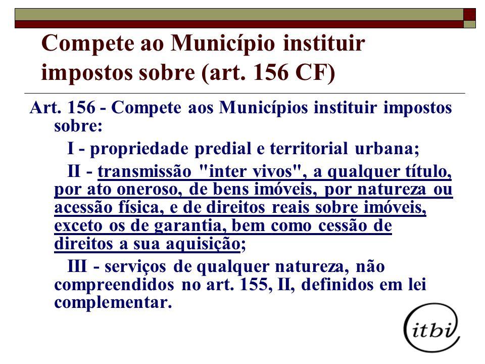 Compete ao Município instituir impostos sobre (art. 156 CF)