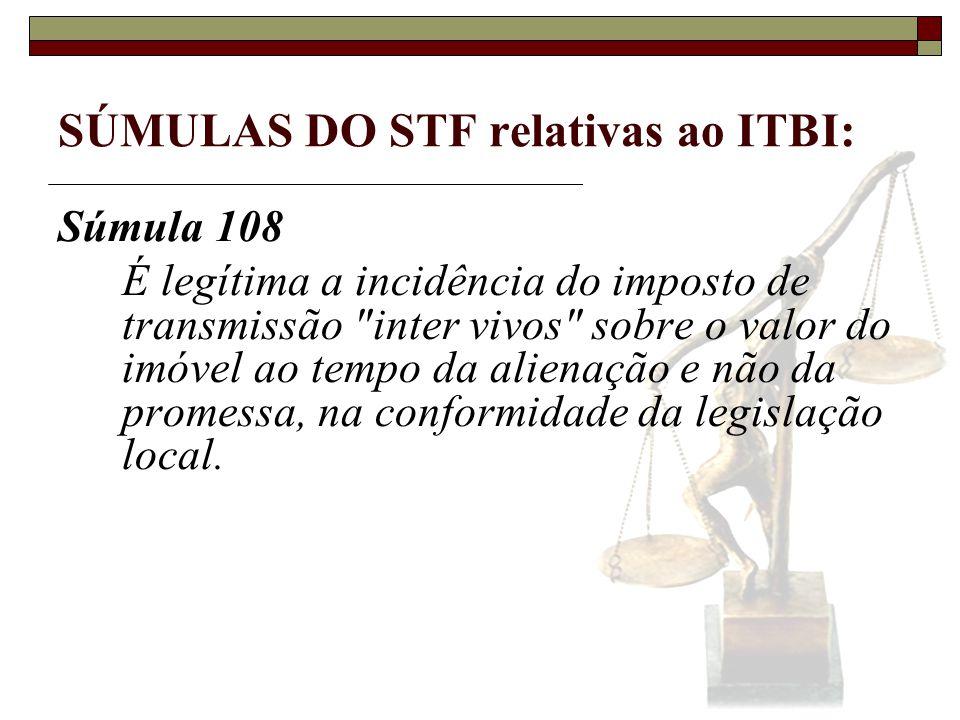 SÚMULAS DO STF relativas ao ITBI: