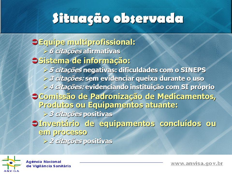 Situação observada Equipe multiprofissional: Sistema de informação: