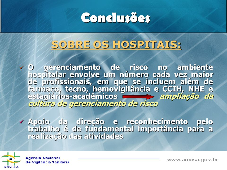 Conclusões SOBRE OS HOSPITAIS: