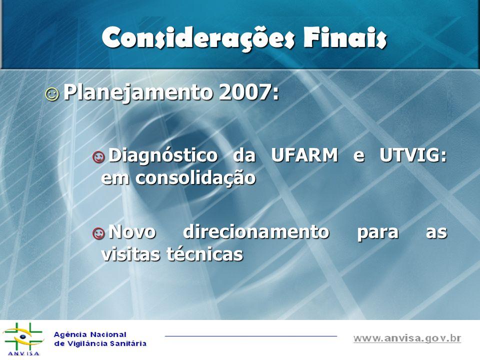 Considerações Finais Planejamento 2007: