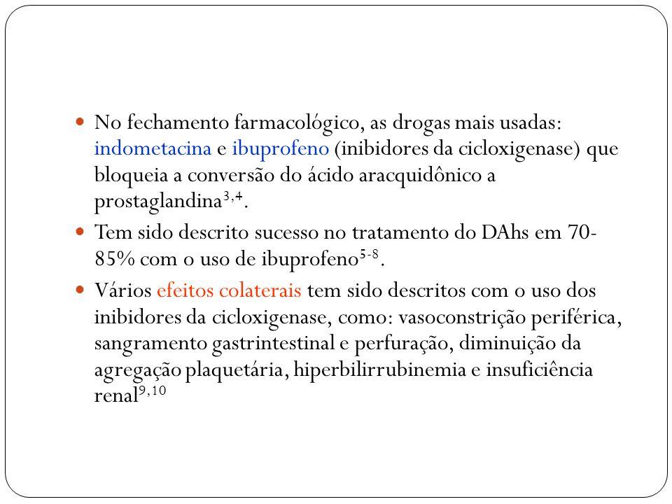 No fechamento farmacológico, as drogas mais usadas: indometacina e ibuprofeno (inibidores da cicloxigenase) que bloqueia a conversão do ácido aracquidônico a prostaglandina3,4.