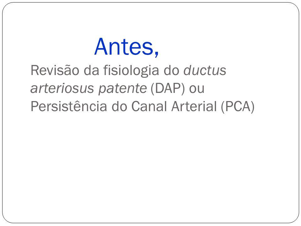 Antes, Revisão da fisiologia do ductus arteriosus patente (DAP) ou Persistência do Canal Arterial (PCA)