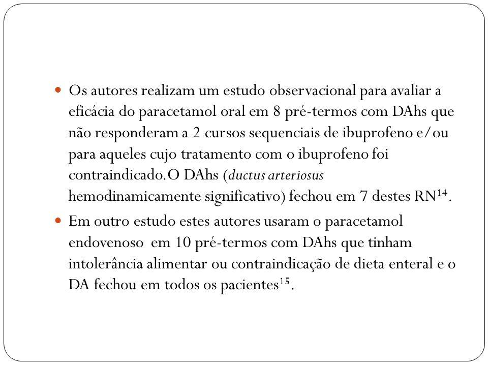 Os autores realizam um estudo observacional para avaliar a eficácia do paracetamol oral em 8 pré-termos com DAhs que não responderam a 2 cursos sequenciais de ibuprofeno e/ou para aqueles cujo tratamento com o ibuprofeno foi contraindicado.O DAhs (ductus arteriosus hemodinamicamente significativo) fechou em 7 destes RN14.
