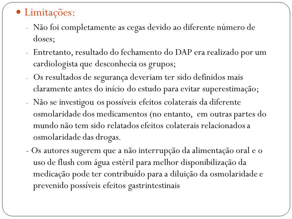 Limitações: Não foi completamente as cegas devido ao diferente número de doses;