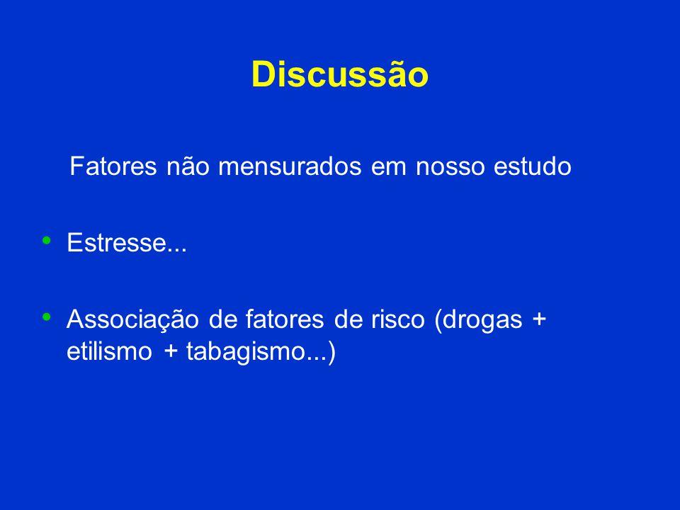 Discussão Fatores não mensurados em nosso estudo Estresse...