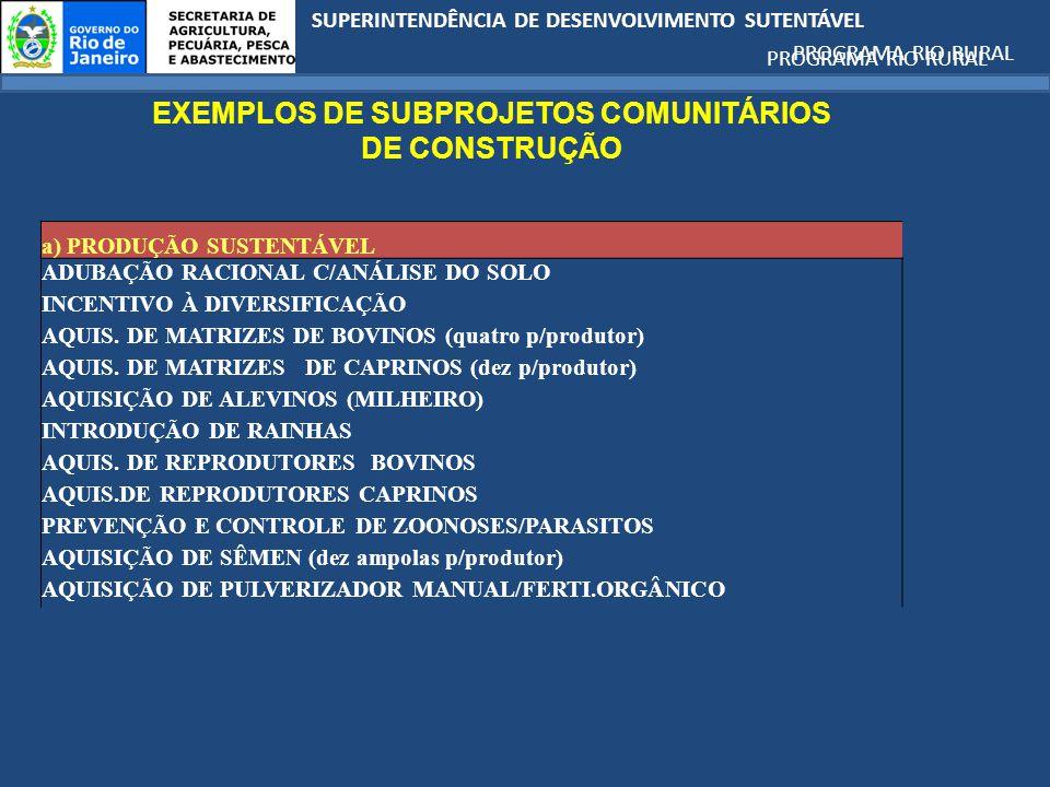 EXEMPLOS DE SUBPROJETOS COMUNITÁRIOS