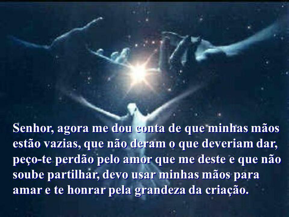 Senhor, agora me dou conta de que minhas mãos estão vazias, que não deram o que deveriam dar, peço-te perdão pelo amor que me deste e que não soube partilhar, devo usar minhas mãos para amar e te honrar pela grandeza da criação.