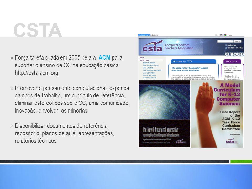 CSTA Força-tarefa criada em 2005 pela a ACM para suportar o ensino de CC na educação básica http://csta.acm.org.