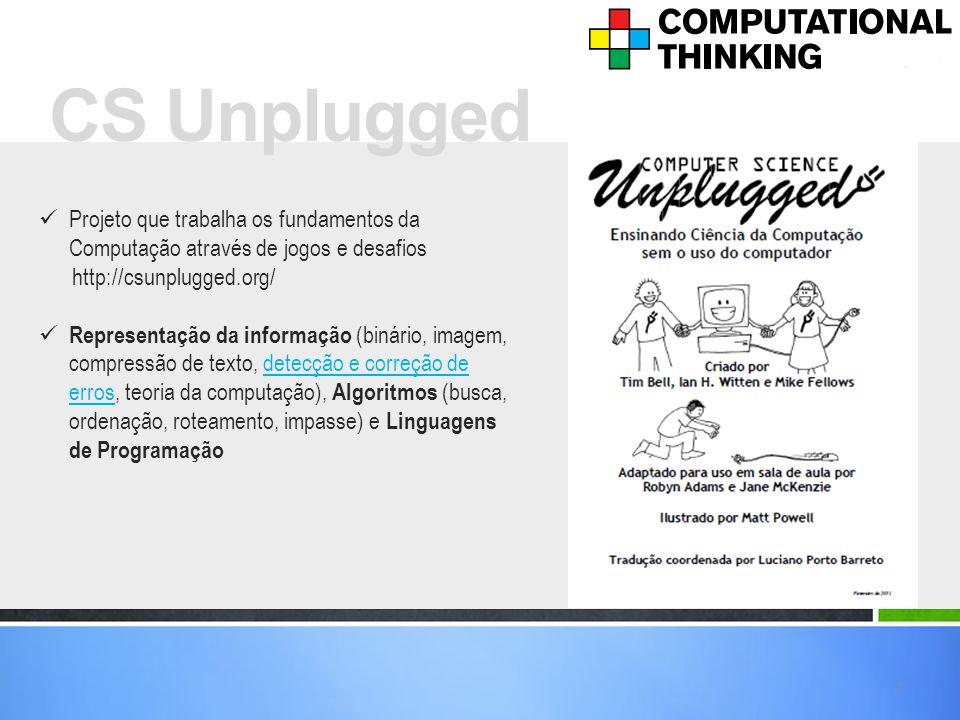 CS Unplugged Projeto que trabalha os fundamentos da Computação através de jogos e desafios. http://csunplugged.org/