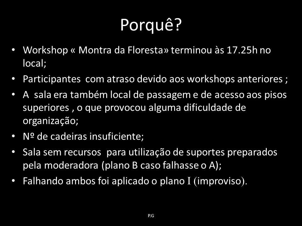 Porquê Workshop « Montra da Floresta» terminou às 17.25h no local;