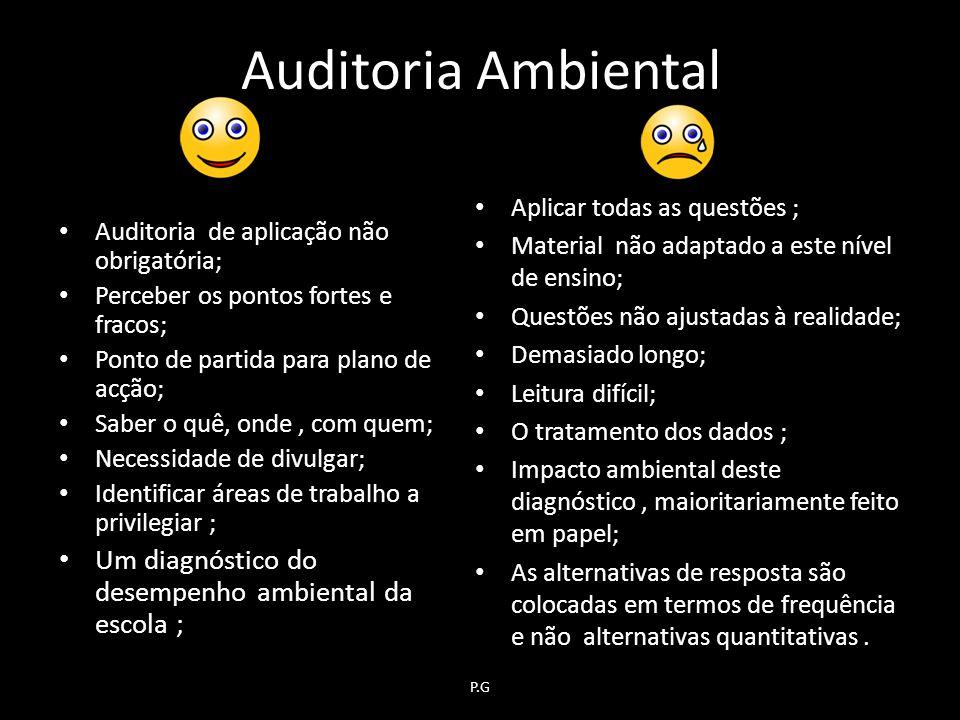 Auditoria Ambiental Um diagnóstico do desempenho ambiental da escola ;