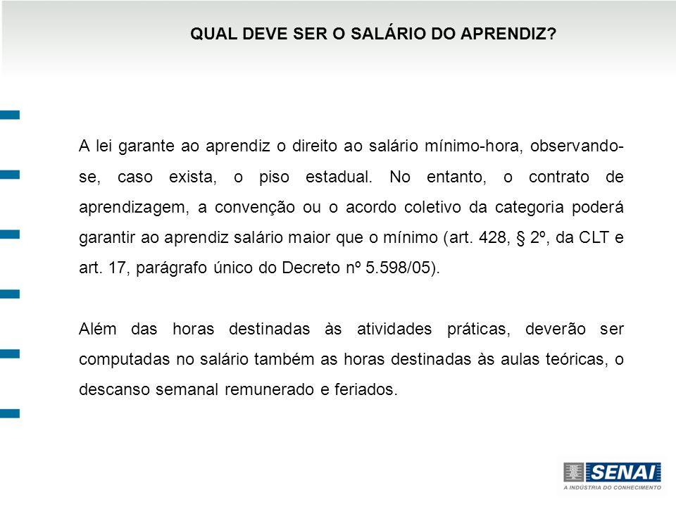 QUAL DEVE SER O SALÁRIO DO APRENDIZ