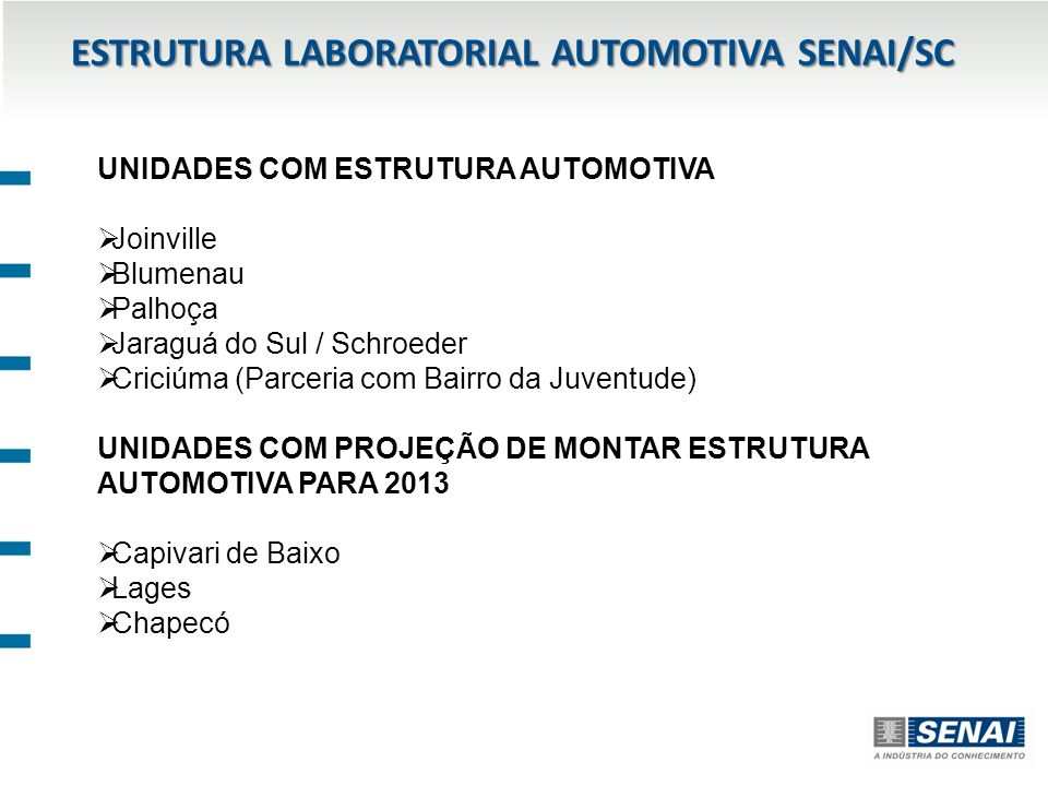 ESTRUTURA LABORATORIAL AUTOMOTIVA SENAI/SC