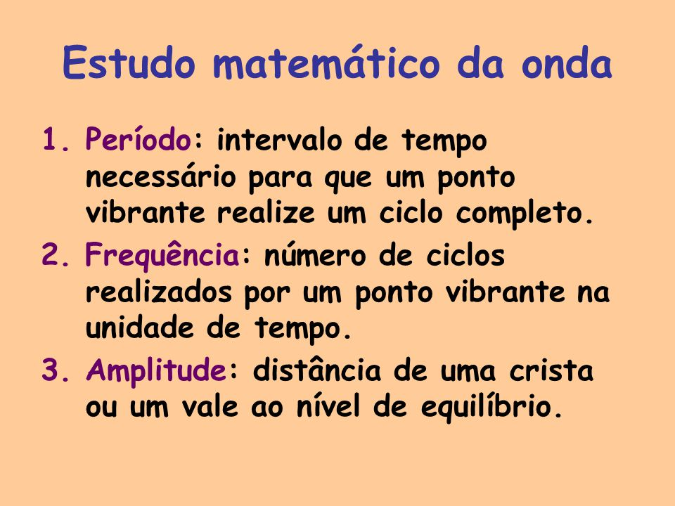Estudo matemático da onda