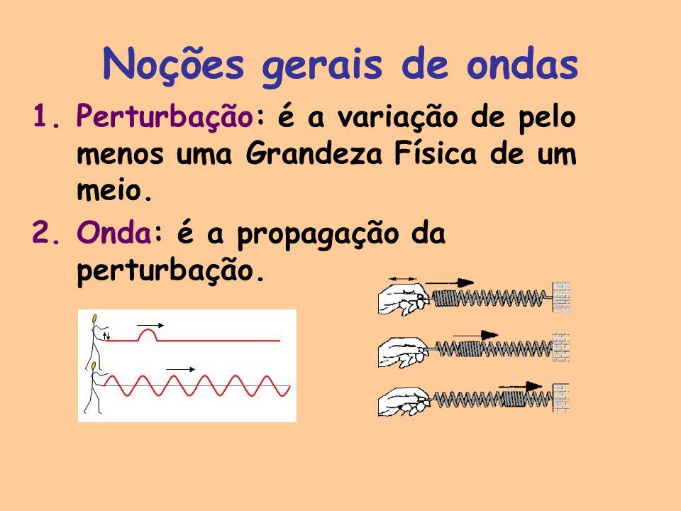 Noções gerais de ondas Perturbação: é a variação de pelo menos uma Grandeza Física de um meio.