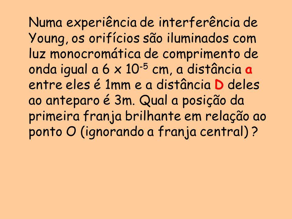 Numa experiência de interferência de Young, os orifícios são iluminados com luz monocromática de comprimento de onda igual a 6 x 10-5 cm, a distância a entre eles é 1mm e a distância D deles ao anteparo é 3m.