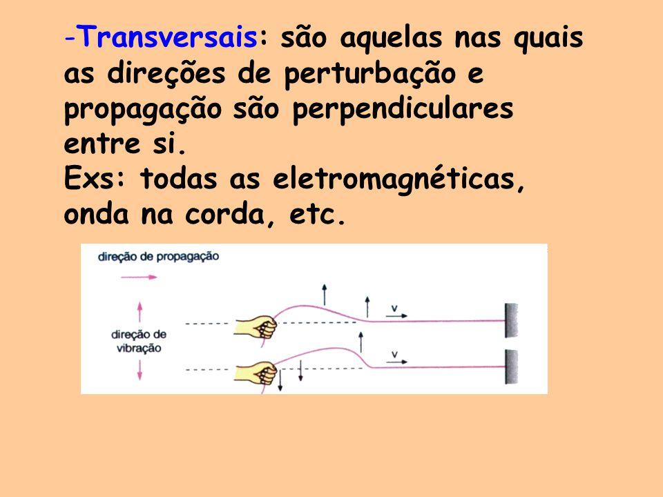 Transversais: são aquelas nas quais as direções de perturbação e propagação são perpendiculares entre si.