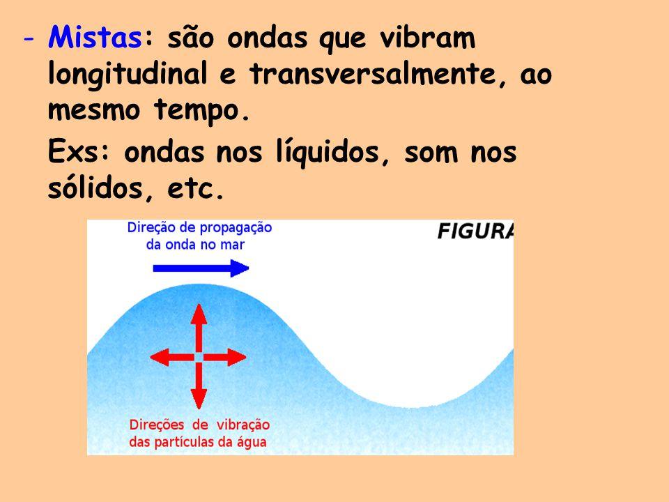 Mistas: são ondas que vibram longitudinal e transversalmente, ao mesmo tempo.