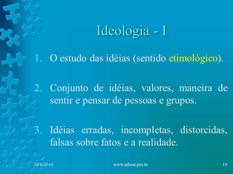 Ideologia - I O estudo das idéias (sentido etimológico).