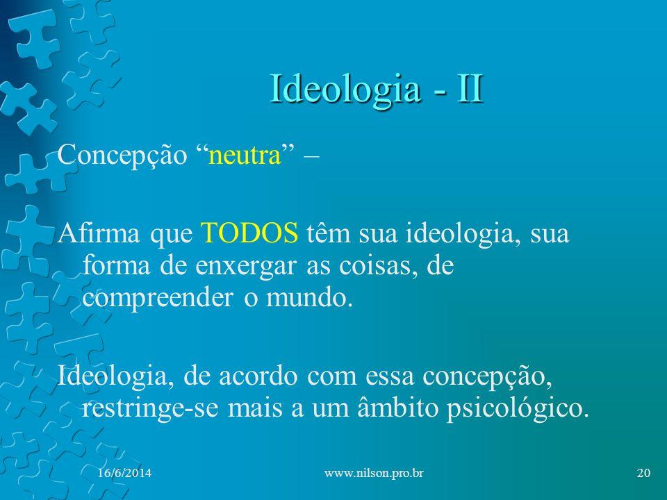 Ideologia - II Concepção neutra –