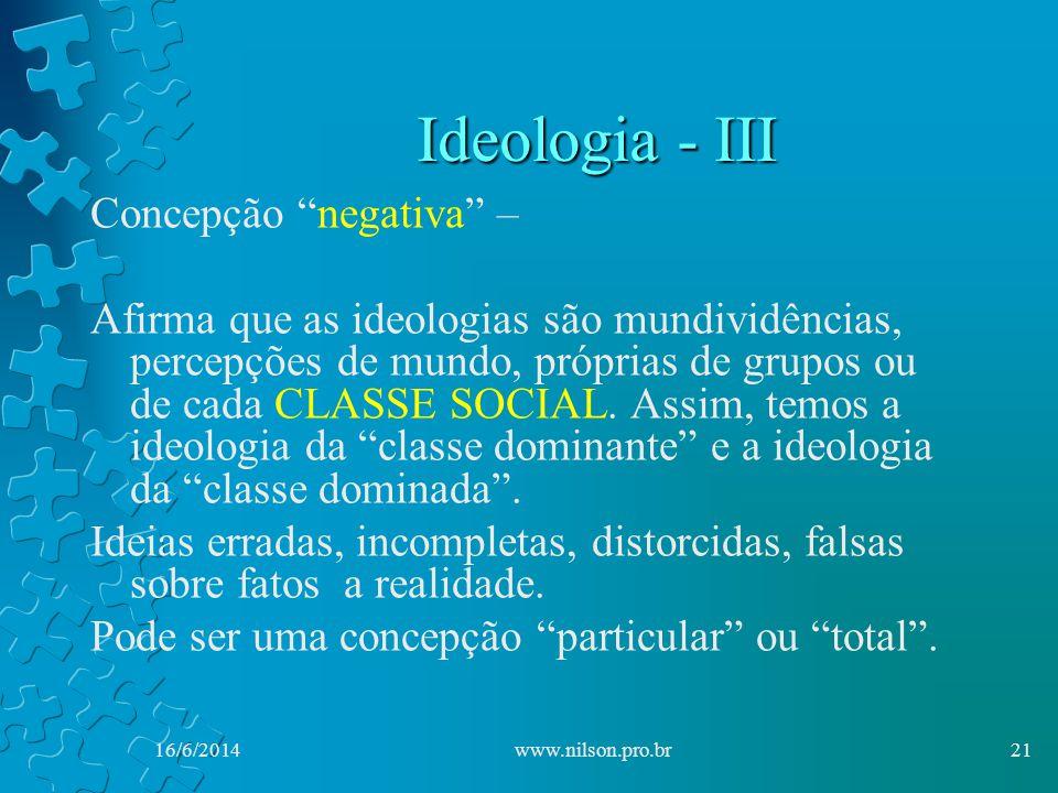 Ideologia - III Concepção negativa –