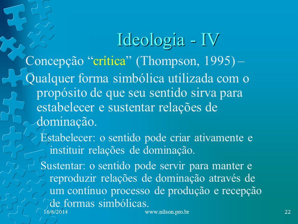 Ideologia - IV Concepção crítica (Thompson, 1995) –