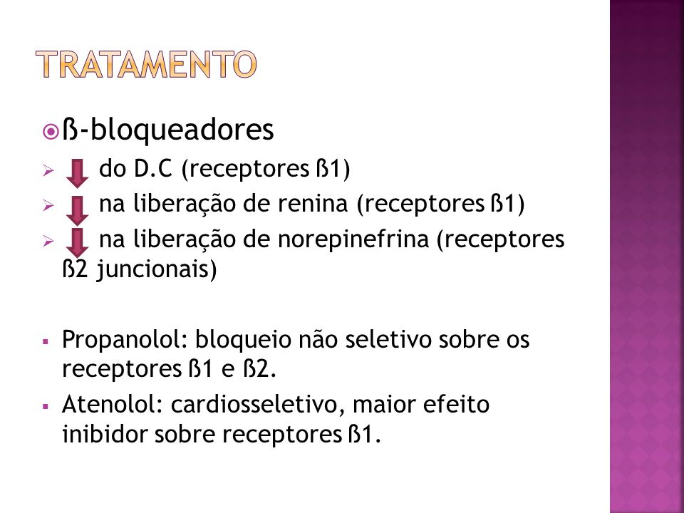tratamento ß-bloqueadores do D.C (receptores ß1)