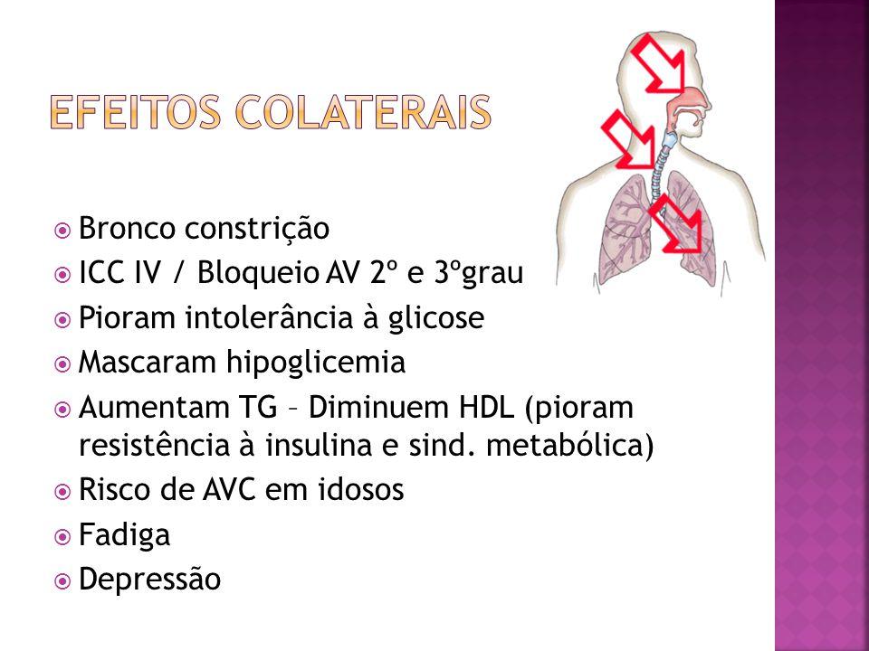 Efeitos colaterais Bronco constrição ICC IV / Bloqueio AV 2º e 3ºgrau