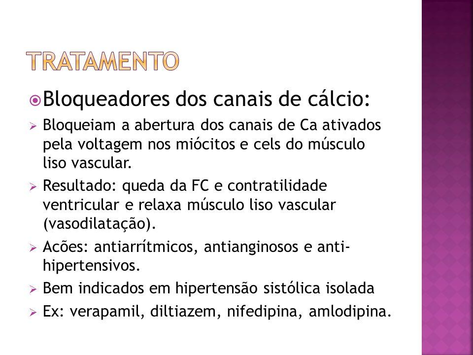 tratamento Bloqueadores dos canais de cálcio: