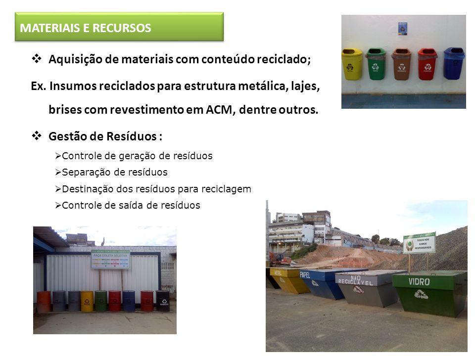 Aquisição de materiais com conteúdo reciclado;