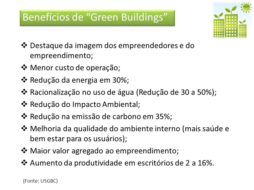 Benefícios de Green Buildings