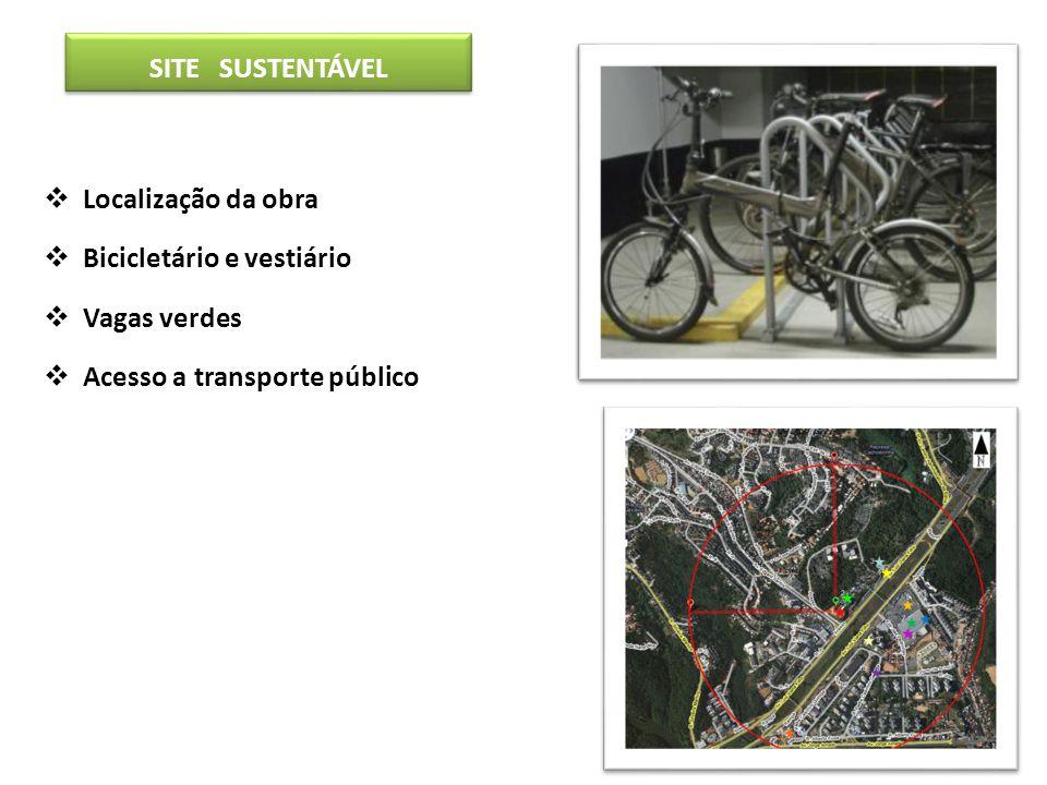SITE SUSTENTÁVEL Localização da obra. Bicicletário e vestiário.